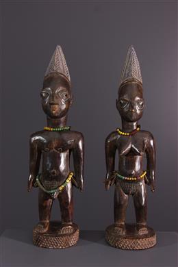 Afrikaanse kunst - Paar beeldjes ibedji Yoruba