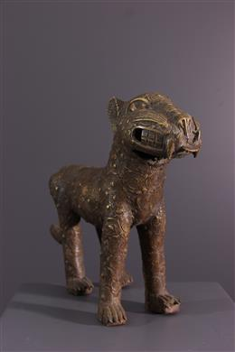 Bronzen Benin luipaardfiguur