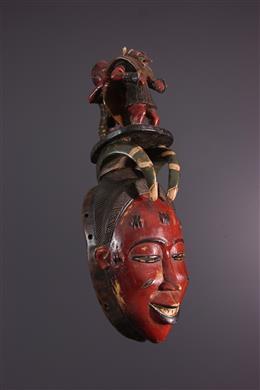 Gouro Gyela masker voorgelezen uit Zaouli dans