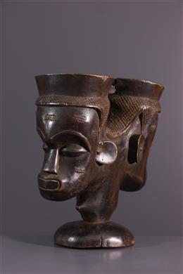 Afrikaanse kunst - Lele, Bashilele Dubbele cephalomorfe beker