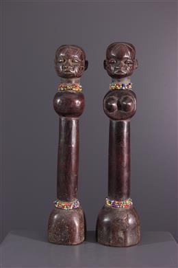 Afrikaanse kunst - Een paar Makonde poppen